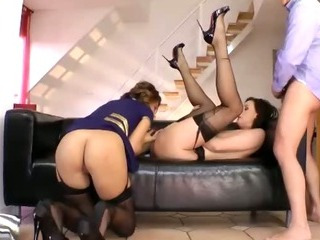 Sex Movie of Mature Euro Stocking Milfs Ffm Fuck Trio