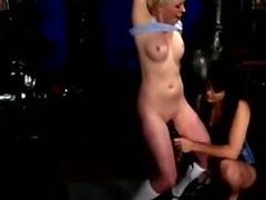 Lesbian mistress makes her slave orgasm