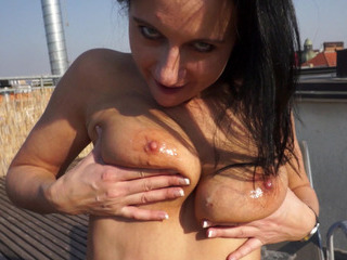 Porno Video of Babe Gets Payed For Flashing Her Big Tits And Pounded On Roofdeck