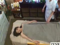 Subtitled perky Japanese milf spread lesbian massage