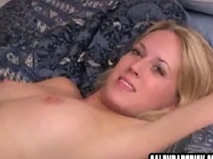 Blonde girl handles cock at interview