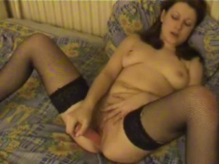 Porno Video of Sexy Milf In Black Stockings Toying Tight Pussy