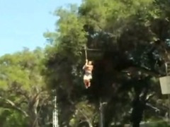 Fearless playboy playmates doing extreme stunts while naked