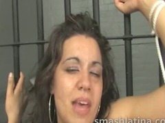 Extremely mean latina face fucking with her mouth held open by a clamp