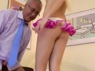 Porno Video of Older Guy Stocking Teen Blowjob And Fuck