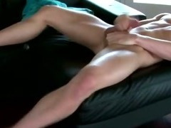 Gay muscle hunk stud plays with his big cock