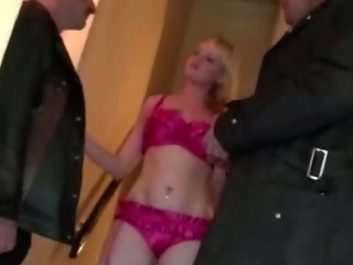 Porn Tube of Sexy Blonde Stockings Bitch Rides Cock