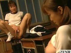 Subtitled lesbian Japanese schoolgirl classroom bondage
