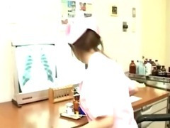 Sexy japanese nurse jerks off cock