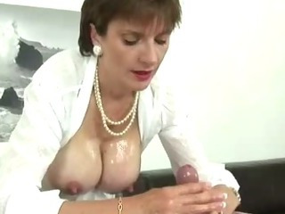 Porn Tube of Mature British Fetish Slut Jerking Hard Cock