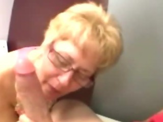 Porn Tube of Mature Granny Wearing Spex Sucking On Cock