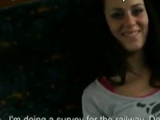 Porno Video of Brunette Shows Off In A Traincompartment Before Giving Head