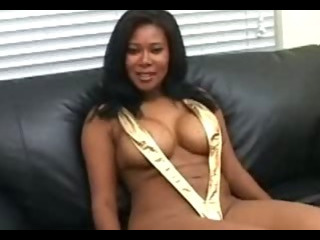 Porn Tube of Ebony Riding Cock While Guy Fondling Her Tits