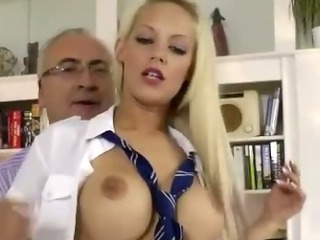 Porn Tube of Older British Guy  Fucks Blonde In Stockings