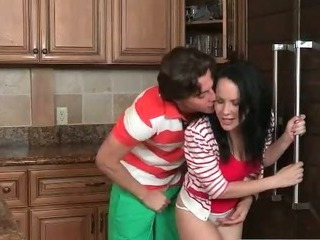 Porn Tube of Milf Catches Teens Fuck In Her Kitchen And Joins Them For A 3some