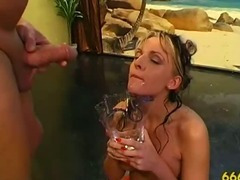 Fetish watersports girl drenched in golden piss