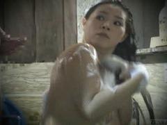 Subtitled real Japanese amateur bathhouse cumshot dare