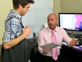 Porno Video of Young Stud Sucks A Mature Hunks Cock For A Job