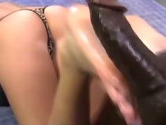 White feet and black cock footjob