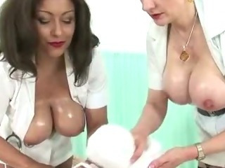 Porn Tube of Femdom Fetish Mature Nurses Give Handjob Cumshot