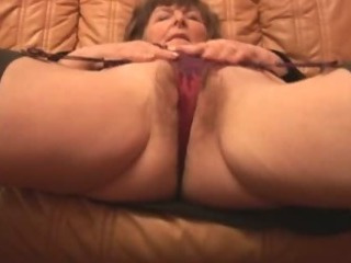 Porno Video of Hairy Granny In Stockings Plays With Panties Then Strips