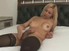 Sexy shemale honey jerking herself off on the bed
