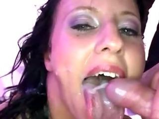 Porn Tube of Bukkake Fetish Euro Slut Fuck Suck And Facials