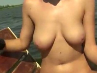 Porn Tube of Babe Exposed Her Big Tits And Pounded On The Boat With Stranger