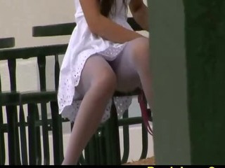 Sex Movie of Voyeur Shot On Tight Blue Pantyhose