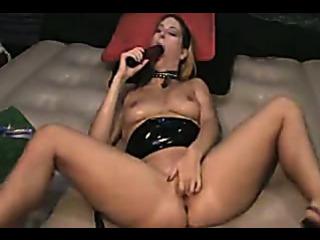 Porn Tube of Kinky Brunette Toy Spanking Gushing Snatch Spray