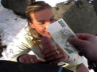 Porno Video of Tight Chick Takes Her Cash Then Fucks With Stranger In A Snowy Public Place