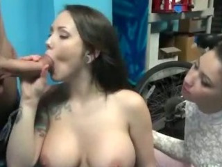 Porn Tube of Big Titty Brunette Amateur Sucking Dick For Cash In Stunt