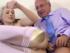 Teen slut fucks every old cock she meets