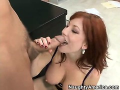 Busty Redheaded Teacher Rides Her Student