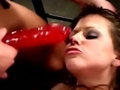 Lesbian bondage game turns into hardcore strapon sex
