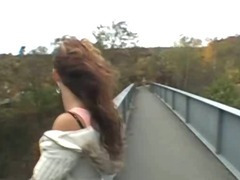 Amateur Girl Flashing Big Titties On A Public Bridge