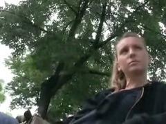 Cute amateur Czech girl pussy slammed in public location