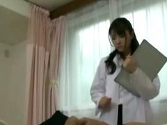 Japanese nurse slut sucks horny patient cock