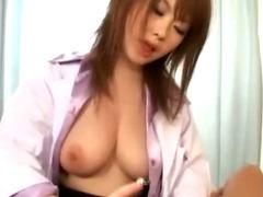 Slutty jap stockings whore gives handjob