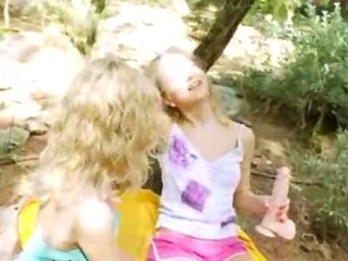 Porn Tube of Blonde Chicks Dildoing In A Forest