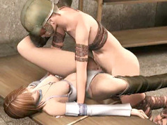 Bondage 3D hentai gets fingered and hard fucked by soldier