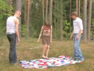 Sex Movie of Amateur European Threesome In The Forest