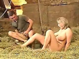 Porno Video of German Threesome In The Barn