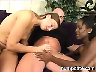 Porno Video of Hot Interracial Threesome With Cum Swapping