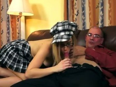 Naughty schoolgirl with old man