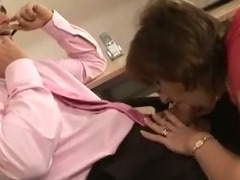Mature stocking femdom sucks cock