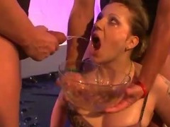 Dirty fetish slut ass fucked and piss drenched