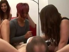 Dirty young cfnm chicks play with cock