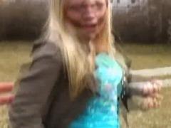 Dirty Blonde European Flashing Her Titties In Public