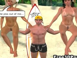 Porn Tube of Two Sexy 3d Cartoon Hotties Getting Fucked On The Beach